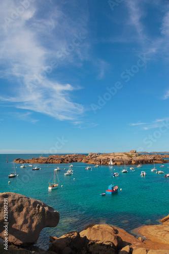 Deurstickers Kust France, Brittany, Cote de Granit Rose (Pink Granite Coast), Cotes d'Armor, Tregastel, bay with boats