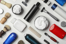 Flat Lay Composition With Shaving Accessories For Men On White Background