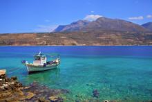 Fishing Boat, Limeni, Mani Peninsula, The Peloponnese, Greece, Southern Europe