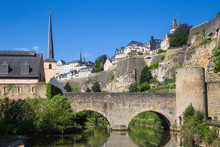 Luxembourg, Luxembourg City, Stierchen Stone Footbridge And Brock Promontory