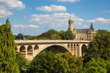 Luxembourg, Luxembourg City, Adolphe Bridge, Petrusse Park And The National Savings Bank