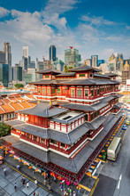 Buddha Tooth Relic Temple And City Skyline, Singapore
