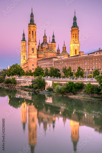 Cathedral-Basilica of Our Lady of the Pillar or Catedral-Basilica de Nuestra Senora del Pilar viewed from across the Ebro river, Zaragoza, Aragon, Spain