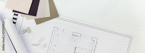 Obraz Interior designer table workplace with house plan - fototapety do salonu