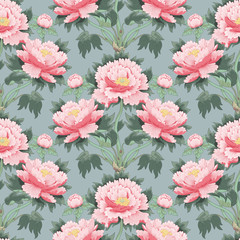 FototapetaSeamless background with peony flowers. Vector illustration imitates traditional Chinese ink painting
