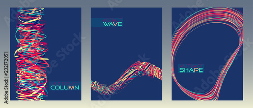 Abstract covers or posters with column, wave and rounded shape. Vector layouts