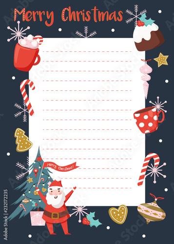 Christmas List Organizer.Christmas Planner Organizer Template Wish List Vector
