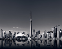 Toronto Skyline With Cn Tower In Black And White
