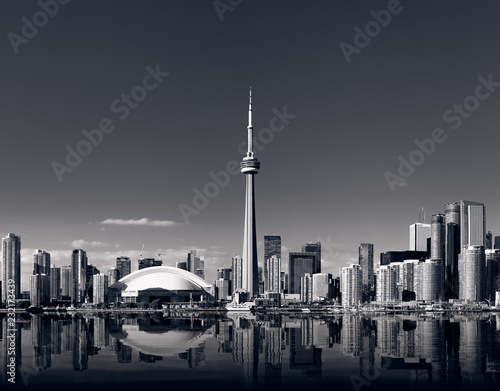 Toronto skyline with cn tower in black and white Wallpaper Mural