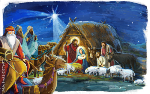 Fotografie, Obraz traditional christmas scene with holy family and three kings for different usage