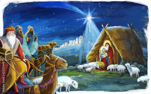 Fotografia traditional christmas scene with holy family and three kings for different usage