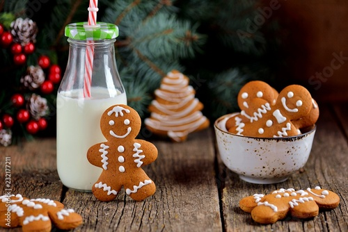 Christmas gingerbread cookie man decorated with icing