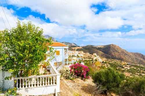 Colorful houses in Othos mountain village, Karpathos island, Greece