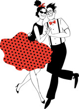 Cartoon Couple In Vintage Clothing Dancing Rock-and-roll On A Vinyl Record, EPS 8 Vector Illustration, No White Objects, Red Is On The  Separate Layer