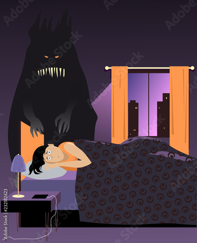 Photo  Scared woman lying in bed at night, a monster standing next to her, representing