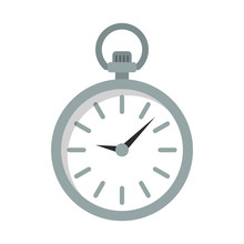 Pocket Watch Flat Icon On Isol...