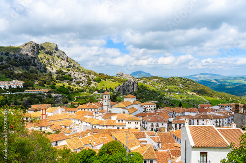 Rooftops of white village of Grazalema in green mountain landscape of Andalusia, Spain
