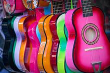 Colorful Ukuleles On A Market