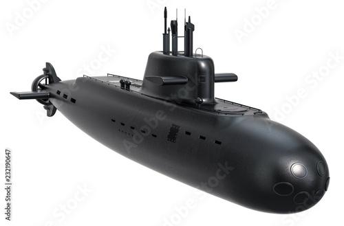 Submarine, 3D rendering Fototapet