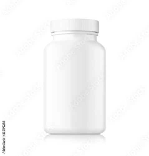 Valokuva  Mockup of plastic bottle isolated on white background