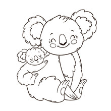 Cute Mother Koala With Her Little Baby On Her Back. Coloring Book Page.
