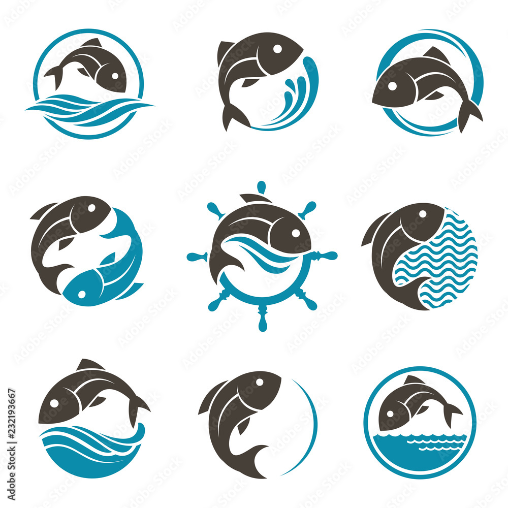 Fototapeta collection of abstract fish icon with waves