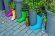 canvas print picture - Gummistiefel Upcycling Pflanzen