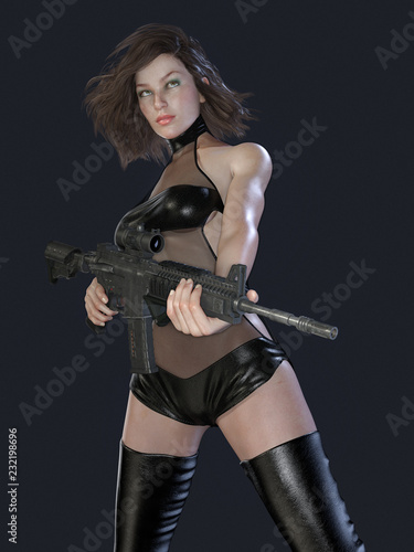 Photo  Sexy Woman Sniper Assassin