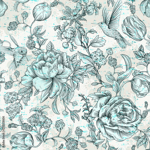 Colorful seamless floral pattern Tablou Canvas