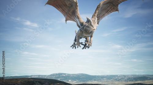 Fotografie, Tablou  Big dragon flying over desert. 3D Rendering
