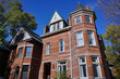 Victorian gothic style brick and stone townhouse architecture