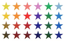 Twenty-four Colors Star Icon Set 3d Rendering On White Background
