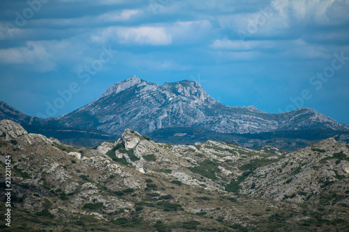 A view of the beautiful Alpilles countryside as seen from the Medieval ruins of the fortress of Les-Baux-De-Provence in France