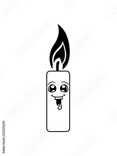 Comic Lustig Cartoon Gesicht Flamme Feuer Kerze Wachs Brennen