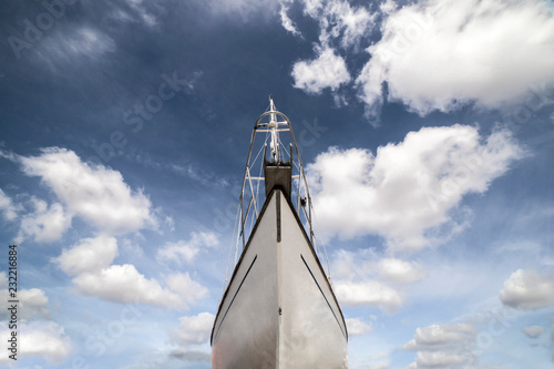Sailboat prow. Low angle front view Canvas