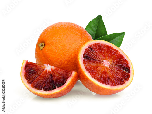 whole and half with slice blood orange with green leaf isolated on white background