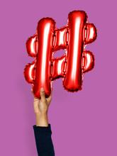 Hand Holding Balloon Hashtag S...