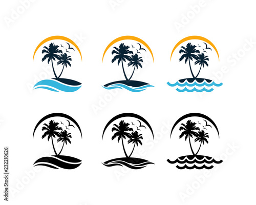 Set Vector Beautiful Sunset and Sunrise on the Waves of the Beach with palm trees and Flying Birds Sign Symbol Icon Traveling or Holiday Company Logo Template Design Inspiration Wall mural