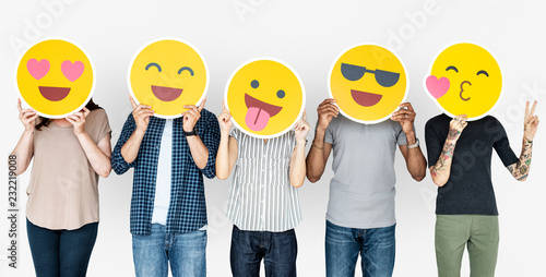 Fotografie, Obraz  Diverse people holding happy emoticons