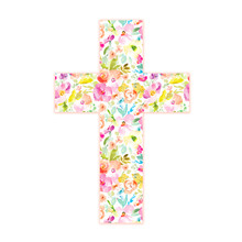 Watercolor Floral Cross For Easter, Religious Baptism