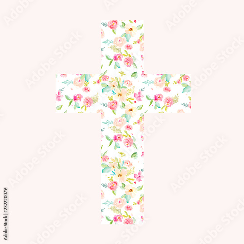 Fototapeta Watercolor Floral Cross, Perfect for Christening, Easter, and Baptisms