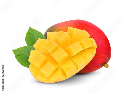 whole and slice ripe mango fruit with green leaves isolated on white background