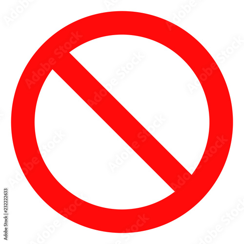 Forbidden icon on a white background. Isolated forbidden symbol with flat style. Wall mural