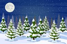 Winter Landscape With White Pi...