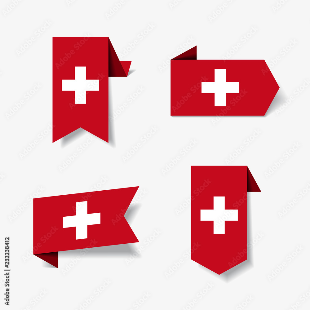 Fototapeta Swiss flag stickers and labels. Vector illustration.