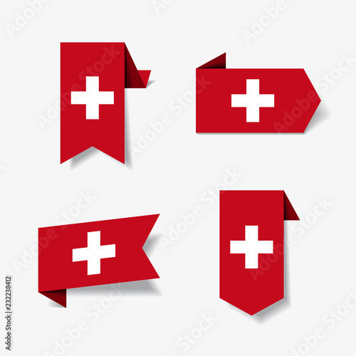 Swiss flag stickers and labels. Vector illustration. Wall mural