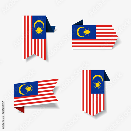 Fotografía  Malaysian flag stickers and labels. Vector illustration.