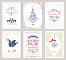 Elegant Vertical Winter Holidays Greeting Cards With New Year Tree, Dove, Reindeers, Snowflake, Christmas Ornaments And Ornate Typographic Design.