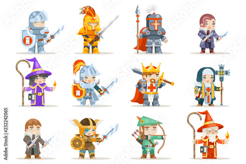 Tela Fantasy set rpg game heroes character vector icons flat design vector illustrati