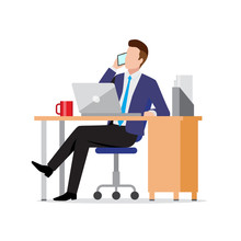 Busy Businessman Using Phone And Laptop In Office At Workplace, Consulting Client By Smartphone, Making Call, Vector Illustration In Flat Style